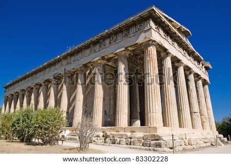 Temple of Hephaestus in Ancient Agora of Athens - stock photo