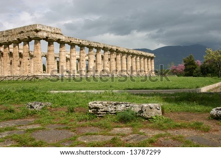 Temple of Hera in Paestum. Paestum is the classical Roman name of a major Graeco-Roman city in the Campania region of Italy.
