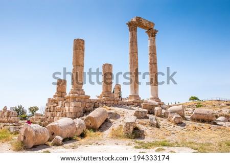 Temple of Hercules of the Amman Citadel complex (Jabal al-Qal'a), a national historic site at the center of downtown Amman, Jordan. - stock photo
