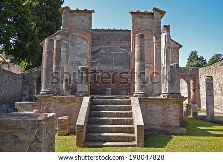 Temple of Isis in ancient Pompeii - stock photo