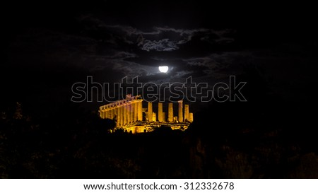 Temple of Juno at night. Valley of Temples, Agrigento. New led lighting system - stock photo