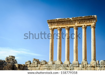 Temple of Jupiter in Baalbek, a town in the Beqaa Valley of Lebanon situated east of the Litani River. Known as Heliopolis during the period of Roman rule - stock photo