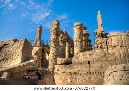 Temple of Karnak - Ruined Thebes Egypt - stock photo
