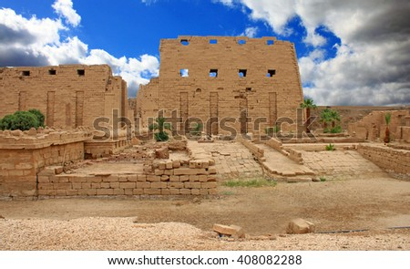 Temple of Karnak - Ruined Thebes in Luxor, Egypt - stock photo