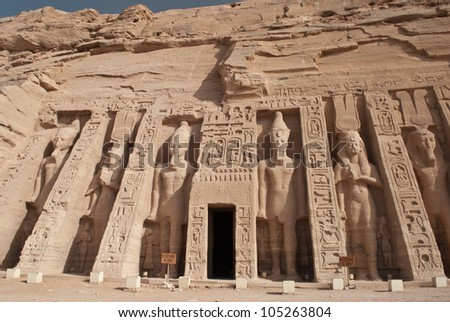 Temple of King Ramses II in Abu Simbel, Egypt - stock photo