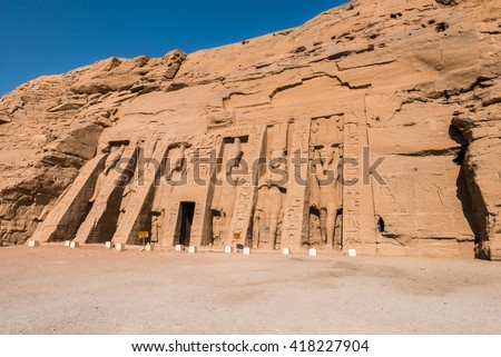 Temple of Nefertari, Abu Simbel, Egypt - stock photo