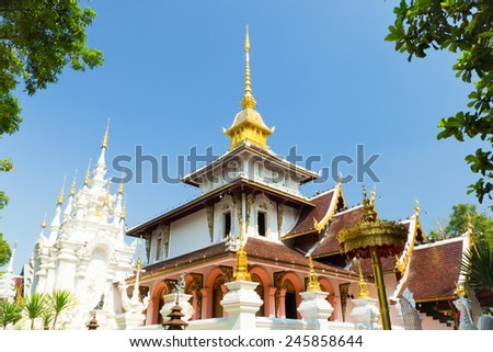 Temple of northern thai style architecture,wat Padarapirom Maerim District, Chiangmai, Thailand - stock photo