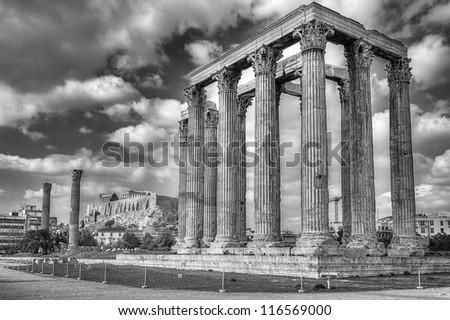 Temple of Olympian Zeus , Athens, Greece - stock photo
