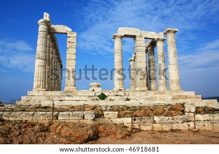Temple of Poseidon, god of the sea in ancient Greek mythology, at Cape Sounion, near Athens (Greece). - stock photo
