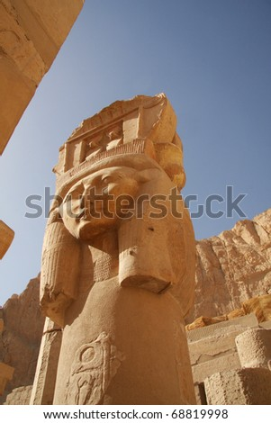 Temple of Queen Hatshepsut, Luxor, Egypt, one of the main column sculptures in the side chamber - stock photo