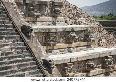 Temple of Quetzalcoatl, Teotihuacan (Mexico) - stock photo