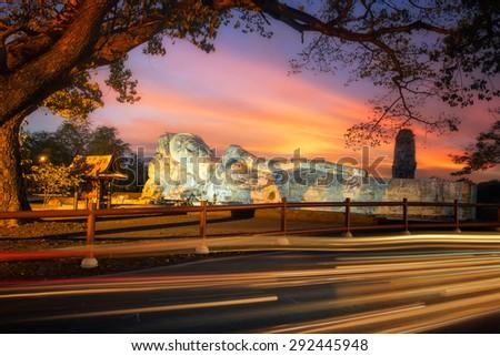 Temple of  Reclining Buddha (Wat Lokayasutharam) at  Ayutthaya in twilight, Thailand. - stock photo