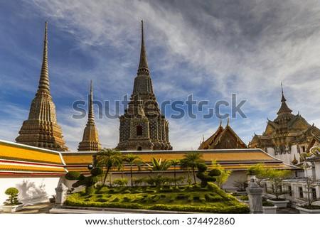Temple of Reclining Buddha, Wat Pho, Bangkok, Thailand - stock photo