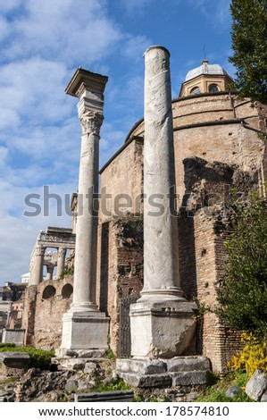 Temple of Romulus in the Roman Forum, Rome Italy