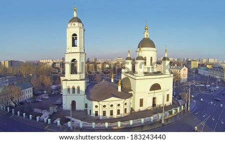 Temple of St. Sergius Radonezhsky (Trinity) in Rogozhskaya Sloboda, Moscow, Russia. View from unmanned quadrocopter - stock photo