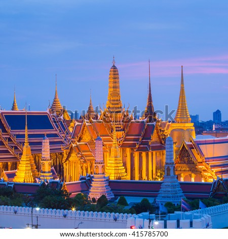 Temple of the Emerald Buddha and Grand palace during twilight time in Bangkok, Thailand - stock photo