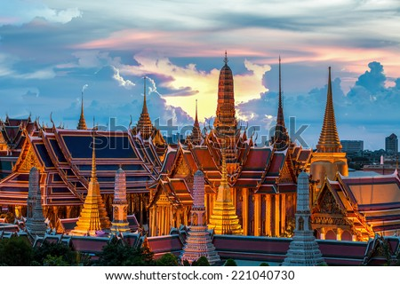 Temple of the Emerald Buddha at dusk, Wat Phra Kaew (Thailand) - stock photo