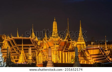 Temple of the Emerald Buddha at dusk, Wat Phra Kaew ,Thailand - stock photo