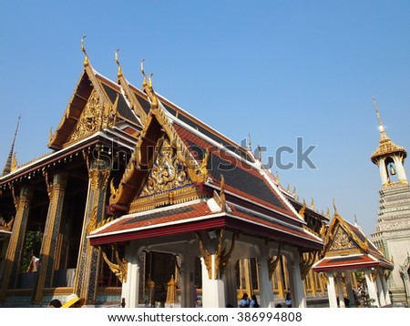 Temple of the Emerald Buddha or Wat Phra Kaew in Bangkok, Thailand - stock photo