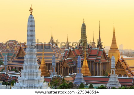 Temple of the Emerald Buddha, ( Wat Phra Kaew) in sunset time, Bangkok, Thailand - stock photo