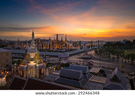 Temple of the Emerald Buddha with sunset sky in Bangkok, Thailand - stock photo