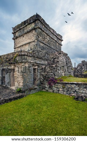 Temple of the Frescos in ancient ruins of Tulum, Mexico - stock photo