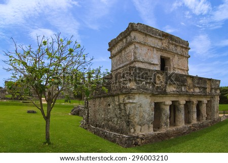 Temple of the paintings or Frescoes in Tulum, Riviera Maya, Quintana Roo, Mexico  - stock photo