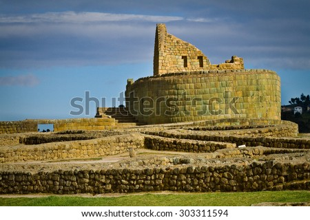 Temple of the Sun in Ingapirca the most important inca archaelogical ruins in Ecuador - stock photo