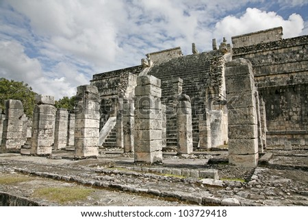 Temple of the warriors and Thousand columns in Chichen Itza Mexico - stock photo