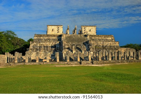Temple of the Warriors in Chichen Itza, Quintana Roo, Mexico. Mayan ruins  near Cancun. - stock photo