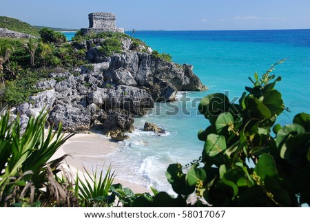Temple of the wind in Tulum, Mexico  - stock photo