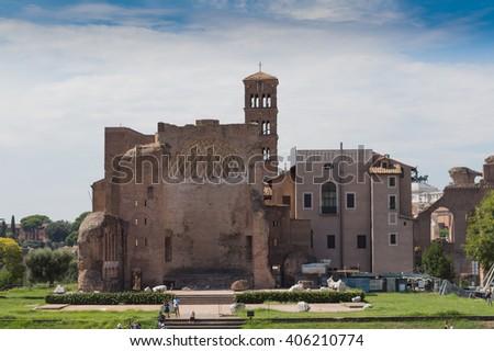 Temple of Venus and Roma - stock photo