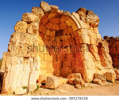 Temple of Venus, Baalbek, Lebanon. UNESCO World Heritage - stock photo