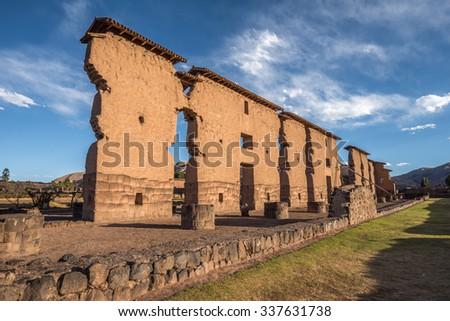 Temple of Wiracocha, Raqchi, Peru - stock photo