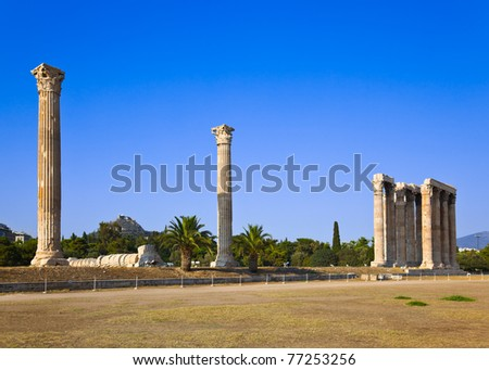 Temple of Zeus and Lycabettus hill at Athens, Greece - travel background - stock photo