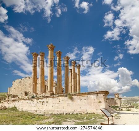Temple of Zeus, Jordanian city of Jerash  (Gerasa of Antiquity), capital and largest city of Jerash Governorate, Jordan - stock photo