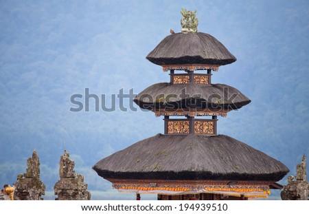 temple on the island of Bali near bratan lake - stock photo