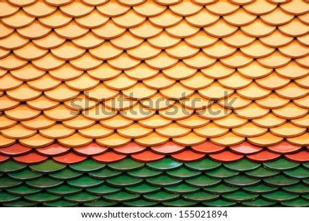 Temple roof tile - stock photo