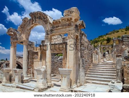 temple ruins in Ephesus, Turkey - stock photo