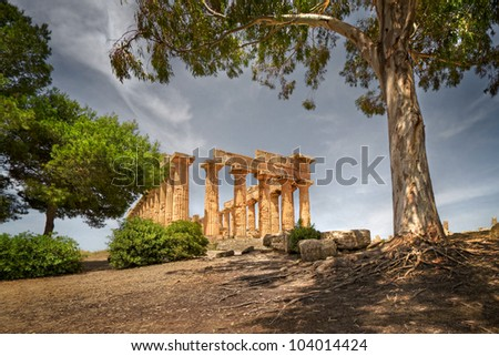Temple ruins, Selinunte, Sicily, Italy - stock photo
