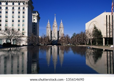 Temple Square which is the home of the Mormon Tabernacle Choir in Salt Lake City, Utah - stock photo