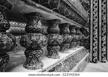 temple wall in black and white image