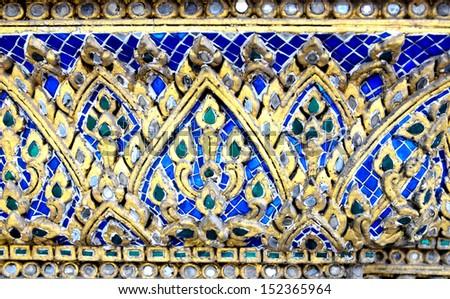 temple wall ornate ceramic, Thailand - stock photo