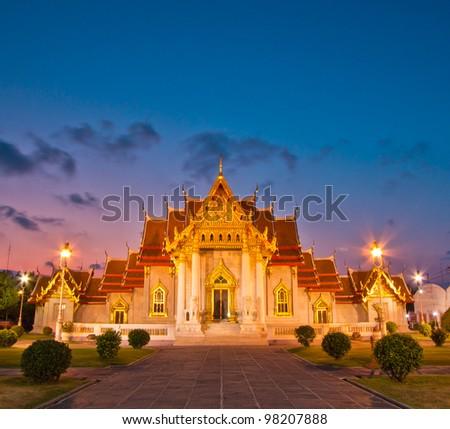 Temple(Wat Benchamabophit), Bangkok, Thailand - stock photo