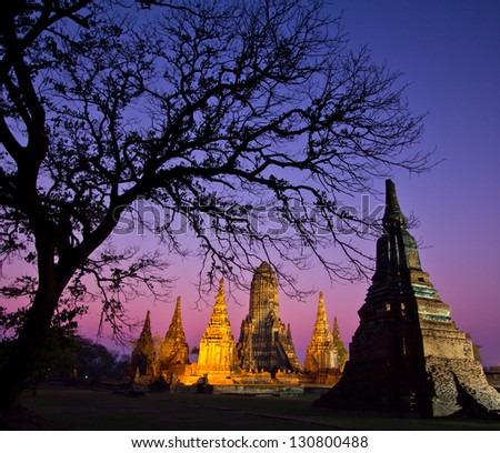 Temple wat Chaiwatthanaram of Ayuthaya Province Thai - stock photo