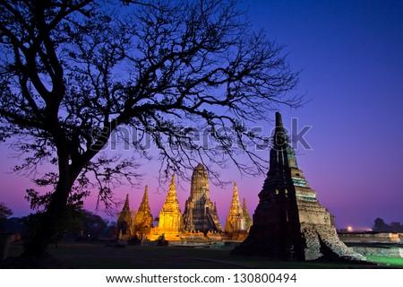 Temple wat Chaiwatthanaram of Ayuthaya Province Thai - stock photo