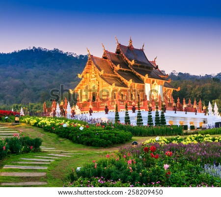 Temple Wat Ho kham luang traditional thai architecture in the Lanna style in Chiang Mai, Thailand.  - stock photo