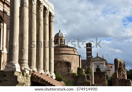 "Temples, columns, monuments and churches along the ""Via Sacra"" in the Roman Forum"