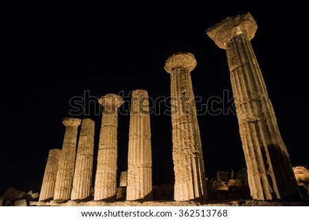 Temples in Agrigento night in Sicily - Italy - stock photo