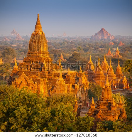 temples in Bagan, Myanmar - stock photo